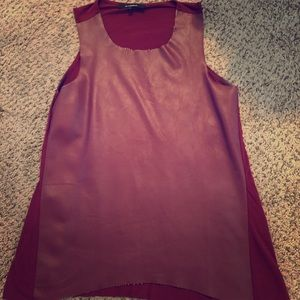 Olivaceous faux leather front tunic in merlot